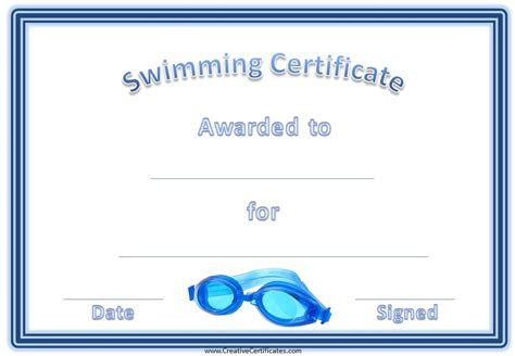 swimming certificates templates search results for certificate of participation template
