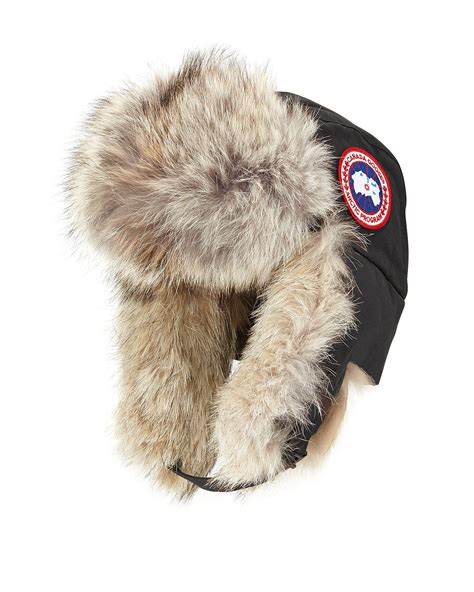 coyote hat canada goose coyote fur aviator hat in black for lyst