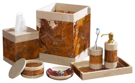 7 Piece Desert Sand And Amber Marble Bath Set Southwestern Bathroom Accessories