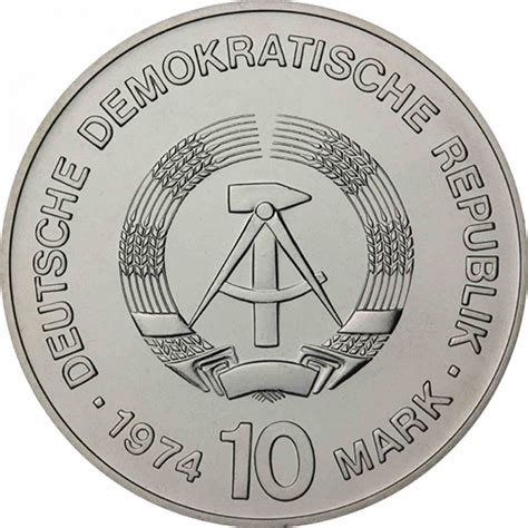 Ddr Jerman German Shp 1974 25 Jahrerat Fur Gegenseitige Mint gdr 10 silver 1974 brilliant unc cities motif in