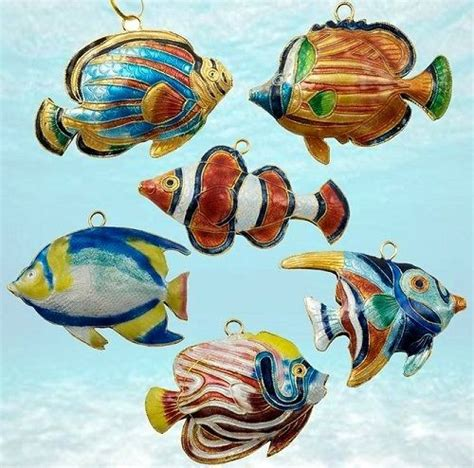cloisonne tropical reef fish ornaments christmas