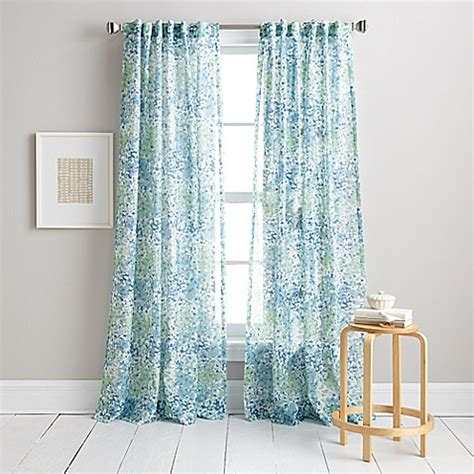 Aqua Color Curtains Designs Dkny Modern Botanical Window Curtain Panel In Aqua Bed Bath Beyond