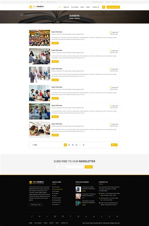 event listing website template edu course html template by tmdstudio themeforest