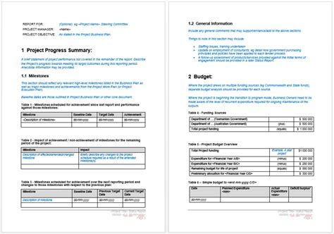 word project report template project status report template microsoft word templates