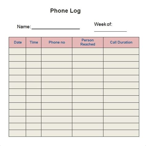 10 Phone Log Templates Word Excel Pdf Formats Free Printable Call Log Template