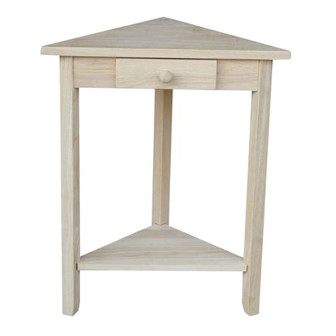 unfinished wood side table triangle corner unfinished wood side end table home