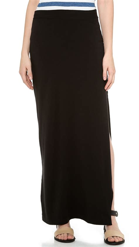splendid maxi skirt with slit black in black lyst