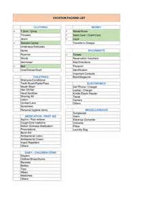 vacation packing list template hashdoc
