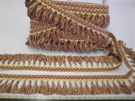 upholstery fabric trim 9 yds italian tassel fringe 3 1 2 quot wine red yellow