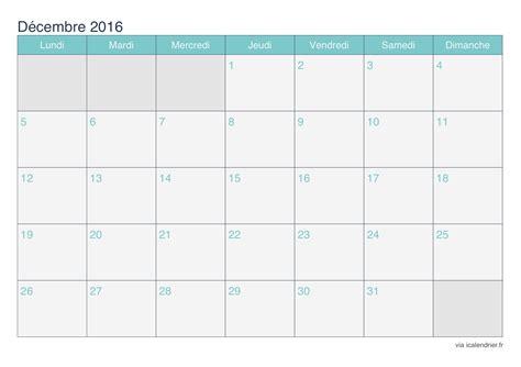 Calendrier 2013 Decembre Calendrier D 233 Cembre 2016 224 Imprimer Icalendrier