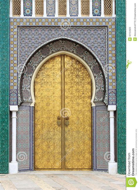doors of the royal palace golded door of royal palace in fes stock photos image