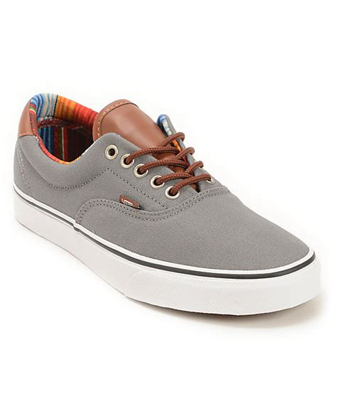 Vans Brownish Grey Shoes vans era 59 c l steel grey multi stripe skate shoes zumiez