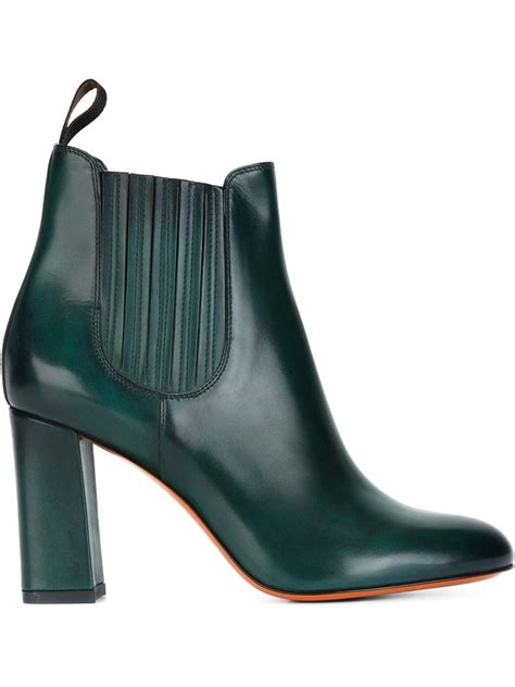 chunky ankle boots santoni chunky heel ankle boots in green lyst