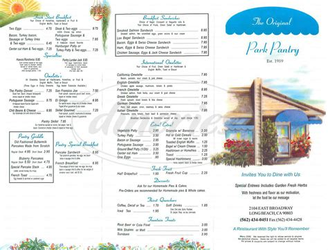 Park Pantry by The Original Park Pantry Menu Dineries