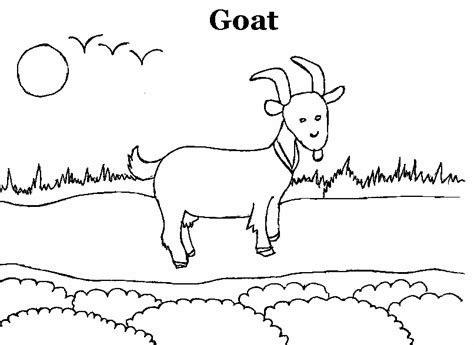 Goat Coloring Pages Kindergarten | free cute goat coloring pages