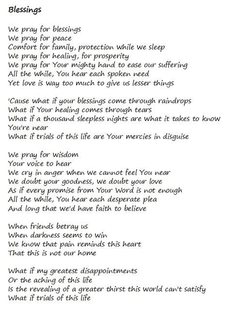printable lyrics laura story blessings blessings laura story i love this song so much music