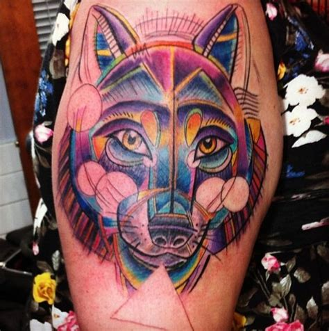 awesome colorful new age wolf tattoo by david phelps
