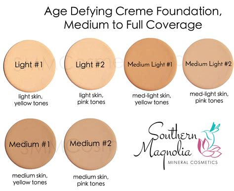 foundation colors foundation color charts southern magnolia mineral cosmetics