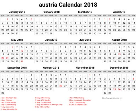 Austria Calend 2018 Austria Calendar 2018 2018 Calendar Printable For Free