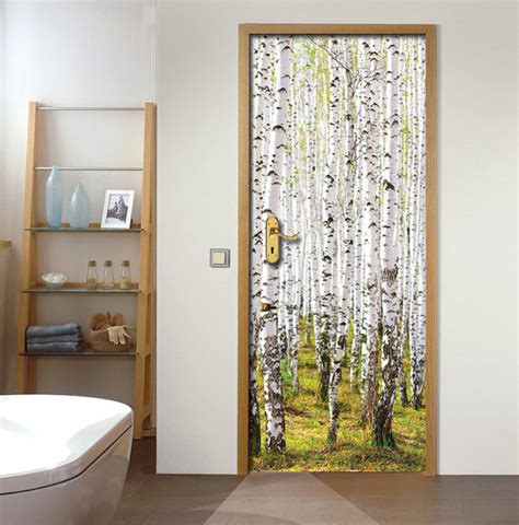 door wall stickers wall decal door sticker birch forest by fromeuwithlove on etsy