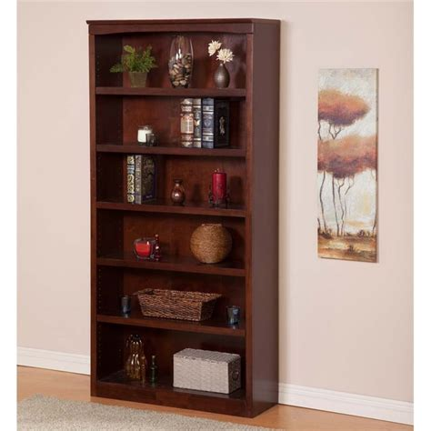atlantic furniture harvard 6 shelf bookcase in walnut h