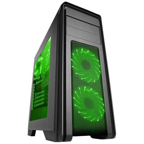 green led computer fan game max falcon gaming pc case with 2x 12cm 16 green led