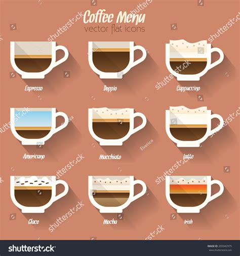 Coffee Menu Icon Set. Buttons For Web And Apps. Coffee Beverages Types And Preparation: Espresso