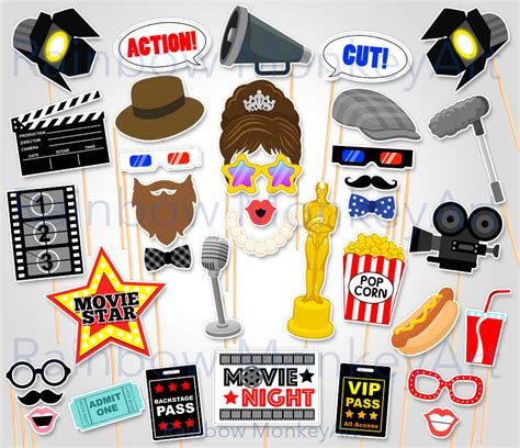 free printable hollywood photo booth props printable movie night photo booth props oscar awards