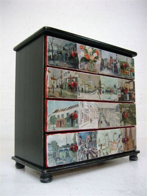 Decoupage Drawer Fronts - vintage retro painted black solid wooden chest of drawers