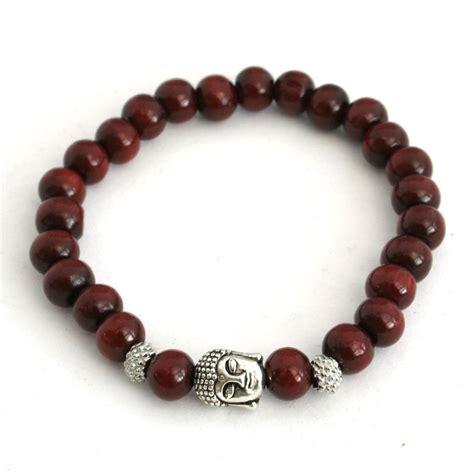 buddhist wooden bead bracelet wooden bracelet with silver thai buddha