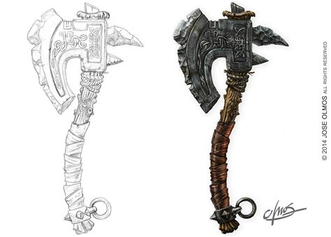 drawn axe drawing pencil and in color drawn axe drawing