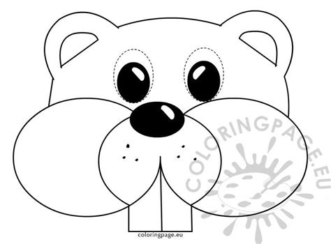 groundhog mask childrens coloring page