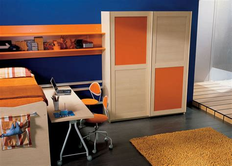 blue and orange room blue and orange kids bedroom with notebook desk interior