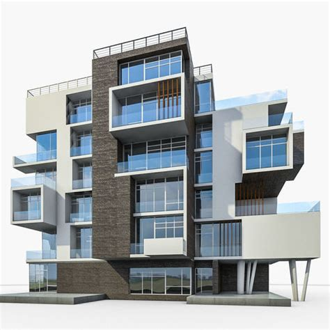 design brief residential building modern apartment building 01 3d model cgtrader