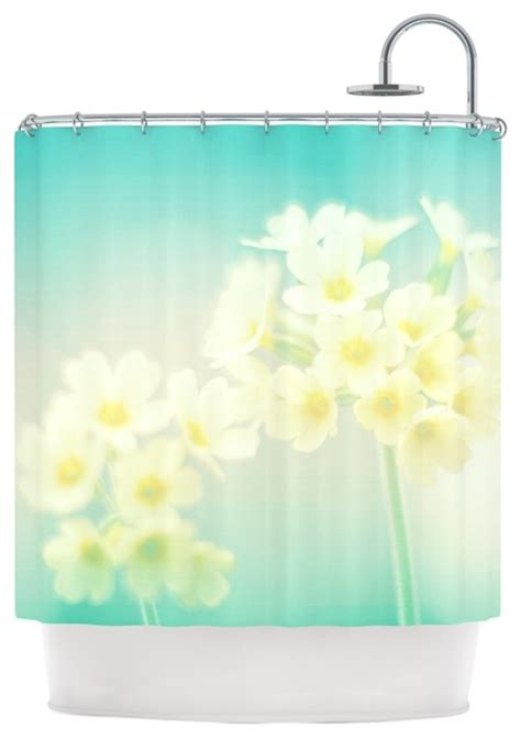 teal and yellow shower curtain monika strigel quot happy spring quot yellow teal shower curtain