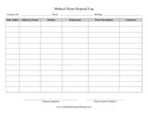 printable medical waste disposal log