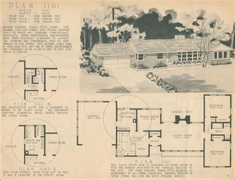 1950s house floor plans mid century ranch style 1950 home building plan service