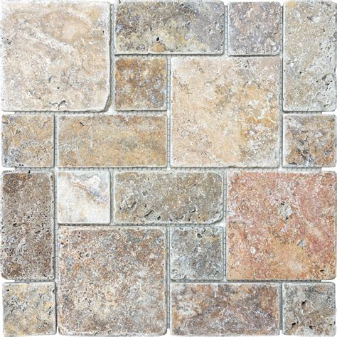 travertine wall shop anatolia tile scabos mixed pattern mosaic travertine wall tile common 12 in x 12 in