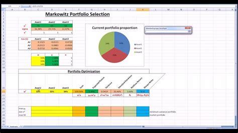 Markowitz Portfolio Selection With Excel Solver Youtube Portfolio Optimization Excel Template