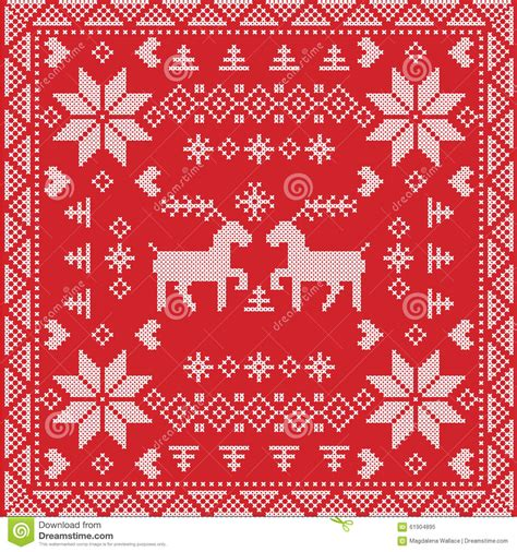 scandinavian style nordic winter stitch knitting seamless pattern  square tile shape