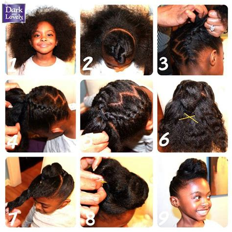 Thick Braided updo with front pouf for little girl