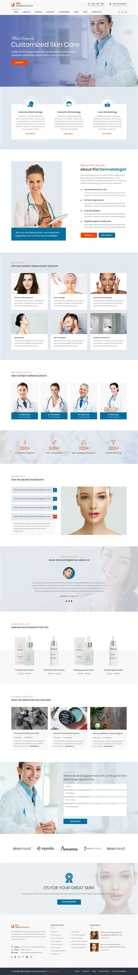 Piel Dermatologist Medical Html Template Dermatologist Website Templates