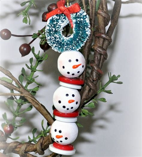 christmas ornament craft ideas beaded snowman strand allfreechristmascrafts
