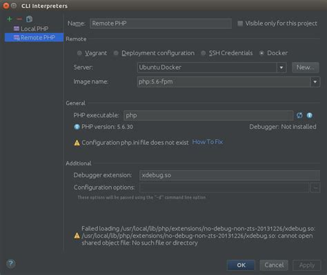 configure xp php ini phpstorm 2017 1 remote php cli in docker configuration