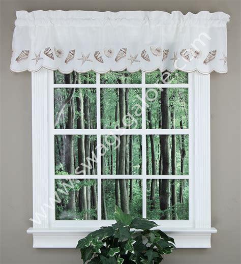 seashell curtains valances seashells embroidered valance natural stylemaster