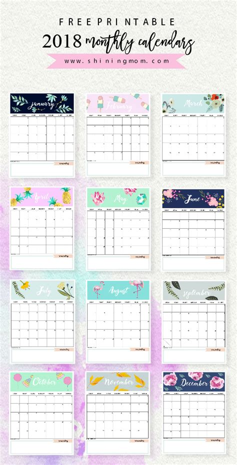 free printable planner design calendar 2018 printable 12 free monthly designs to love