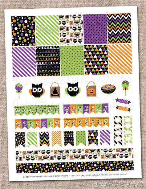 free printable halloween planner stickers halloween owls planner stickers set instant download diy