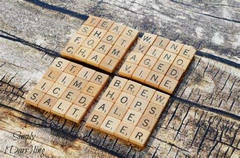 used scrabble tiles make scrabble tile drink coasters with glue