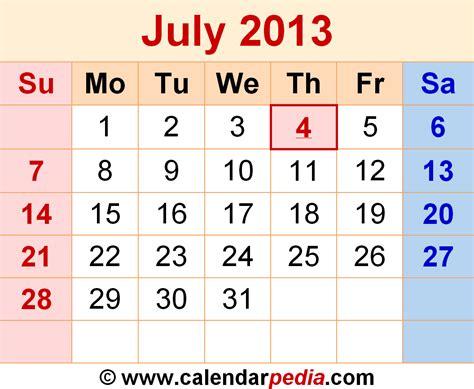 Calendar July 2013 July 2013 Calendars For Word Excel Pdf