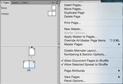 indesign sections split master spreads into pages in adobe indesign